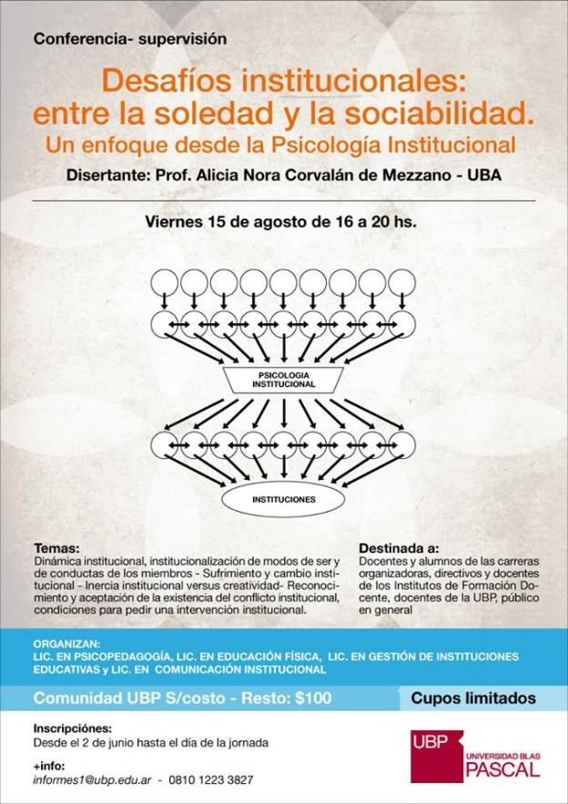"""Conferencia """"Desafíos institucionales: entre la soledad y la sociabilidad"""""""