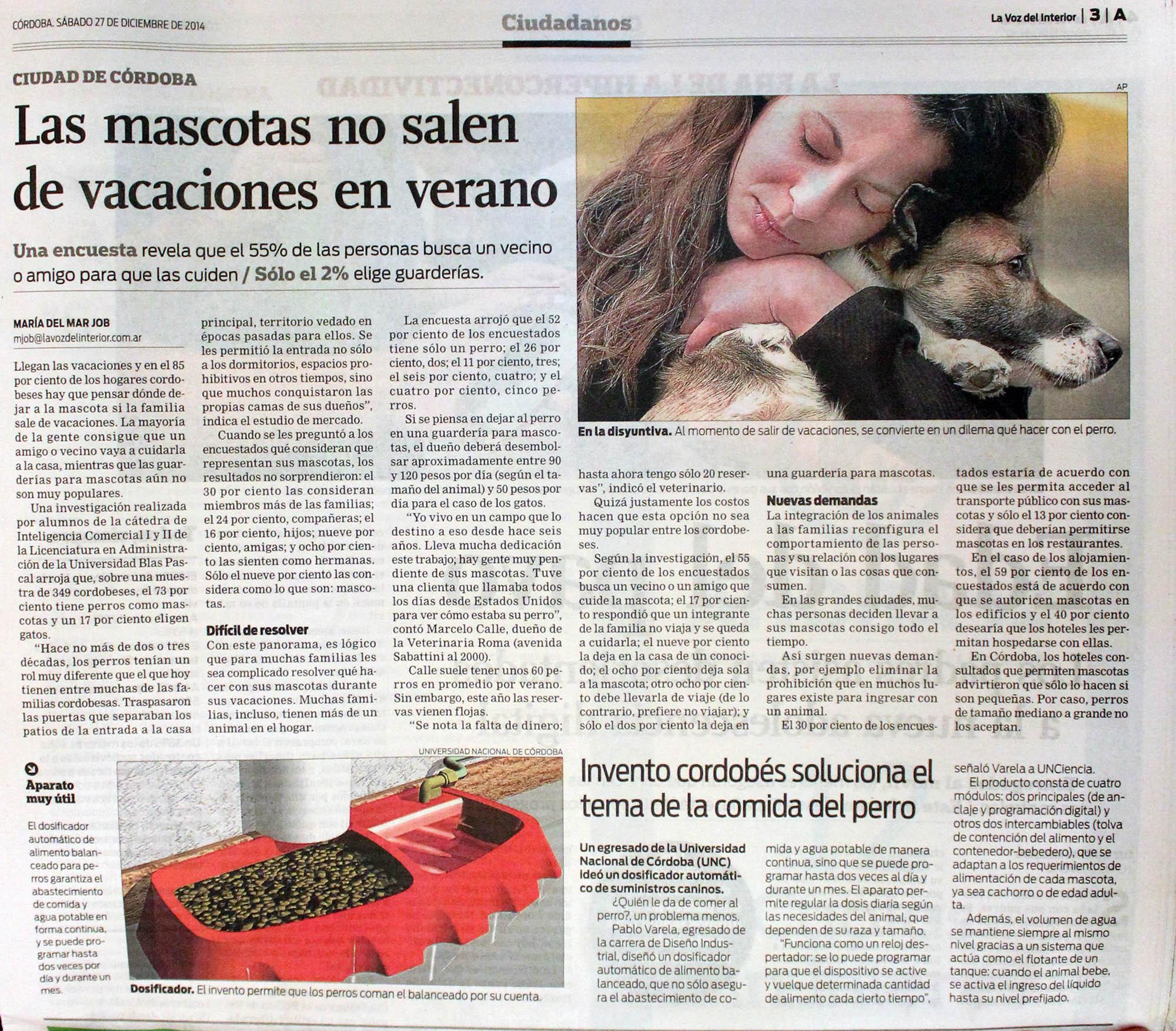 27 12 2014 las mascotas no salen de vacaciones en verano universidad blas pascal - La voz del interior ...