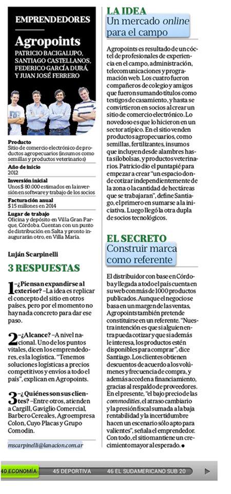 Emprendedores- Diario La Nación.