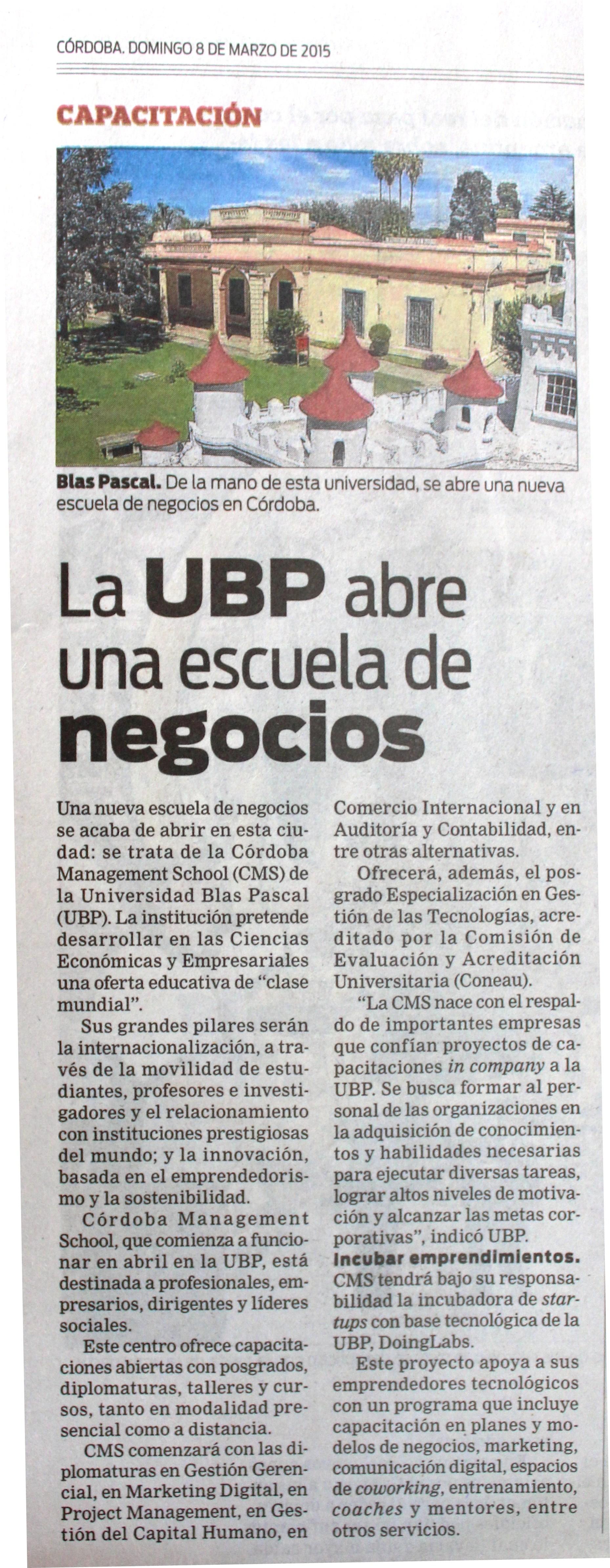 08 03 2015 la ubp abre una escuela de negocios for Lavoz del interior cordoba