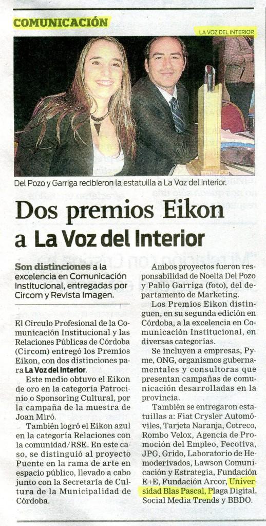 14 05 2015 dos premios eikon a la voz del interior for La voz del interior trabajo