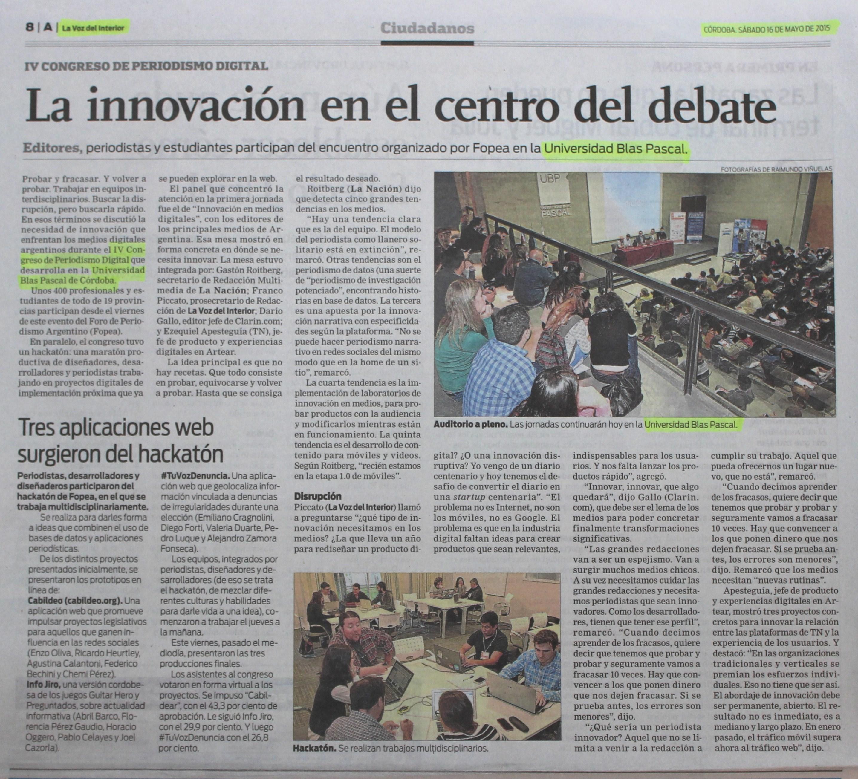 16 05 2015 la innovaci n en el centro del debate for La voz del interior trabajo