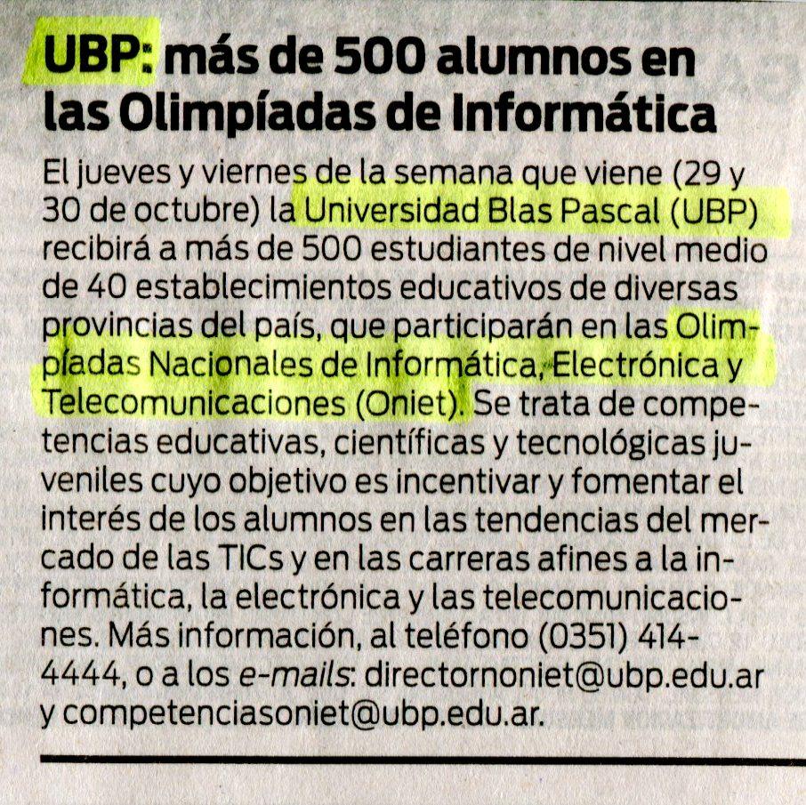 24 10 2015 ubp m s de 500 alumnos en las olimp adas de for La voz del interior trabajo