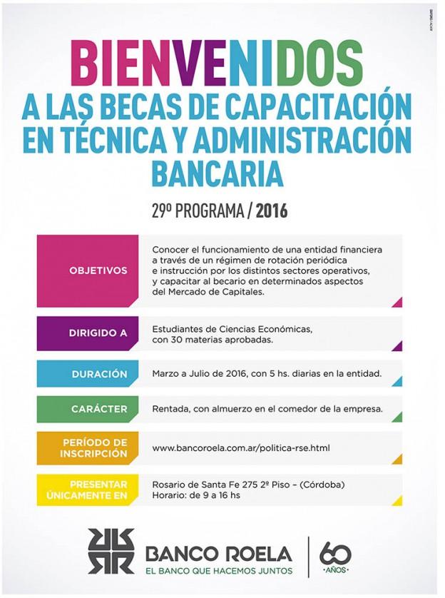 Becas de capacitación en técnica y administración bancaria