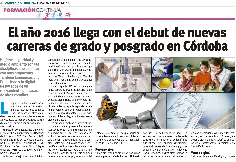 18 11 2015 el a o 2016 llega con el debut de nuevas for Carreras de grado