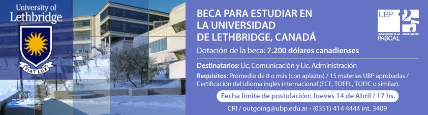 Beca para estudiar en la Universidad de Lethbridge, Canadá