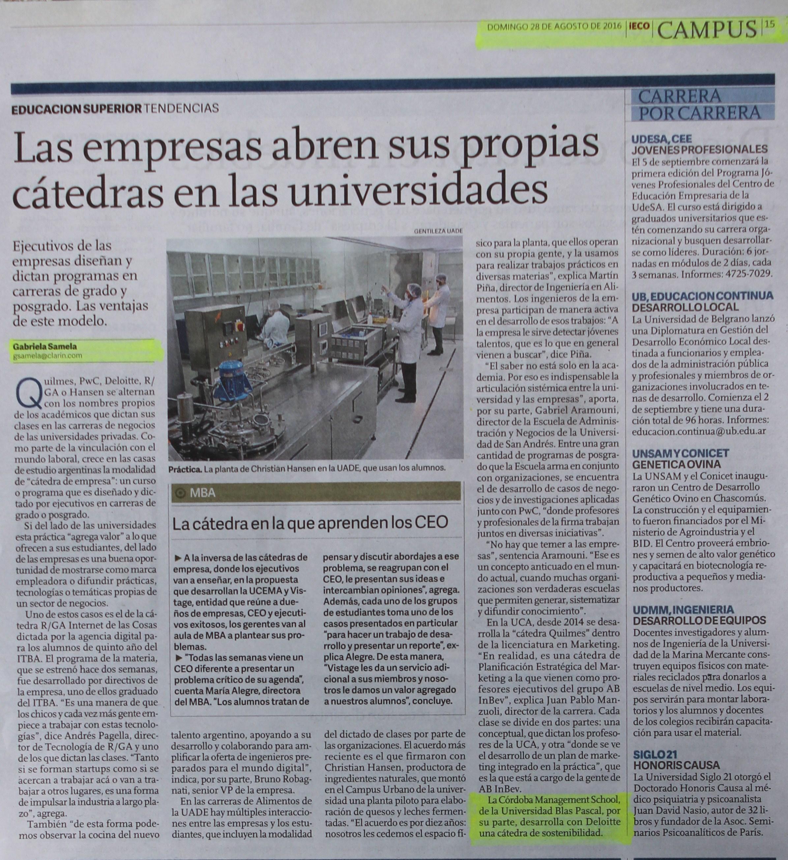 29-08-2016- iEco- Clarin- Cátedra de Sustentabilidad