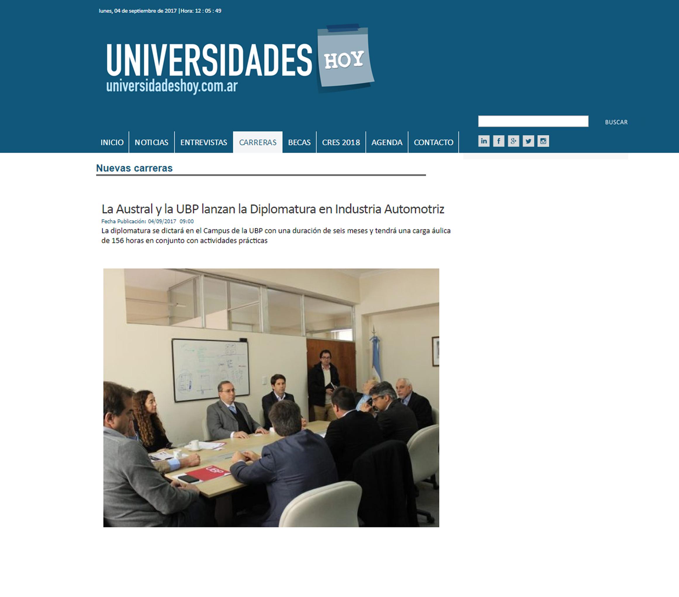 """04/09/2017 """"La Austral y la UBP lanzan la Diplomatura en Industria Automotriz"""""""