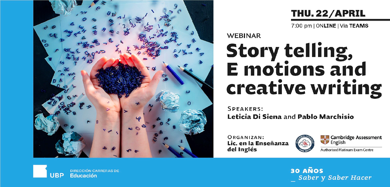 "Webinar: ""Storytelling, E motions and creative writing"""